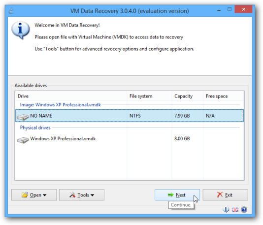 VM Data Recovery Select Drive Window